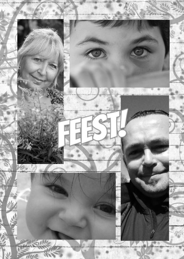 Uitnodigingen - gezin fotokaart sier d