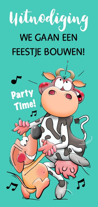 Uitnodigingen - Grappige uitnodiging met dansende koe en muis