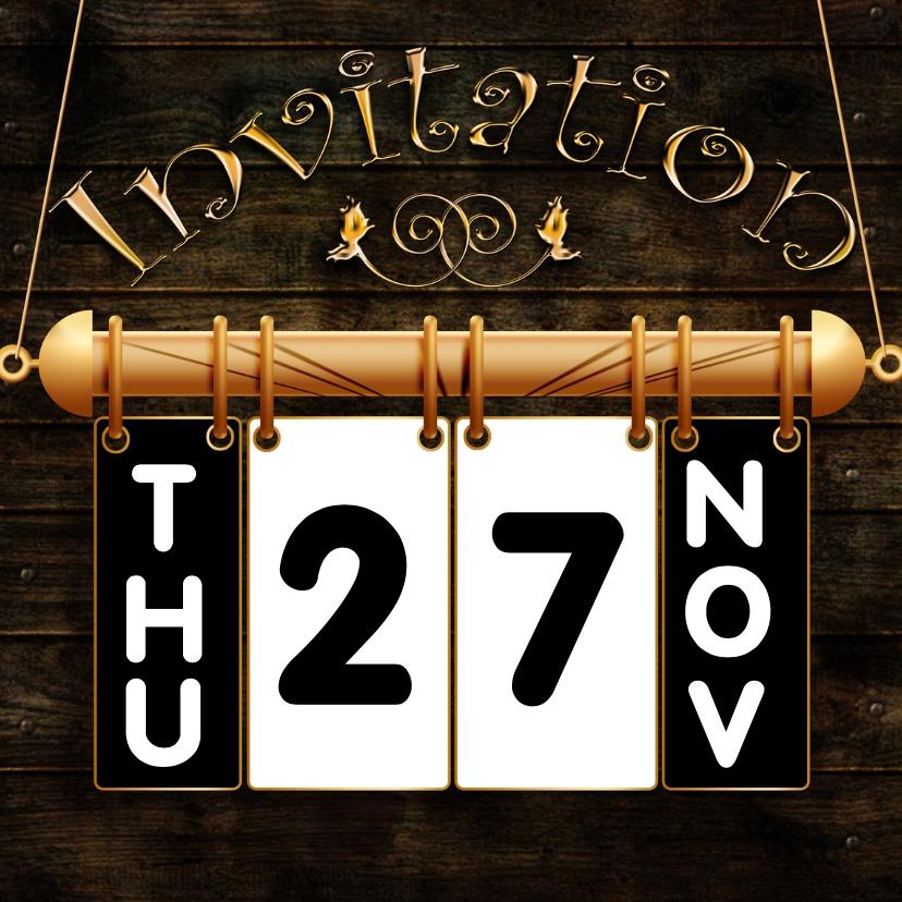Uitnodigingen - Hangkalender vervang datum a