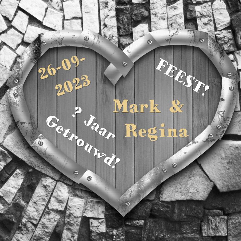 Uitnodigingen - Hart hout zelf invullen RB