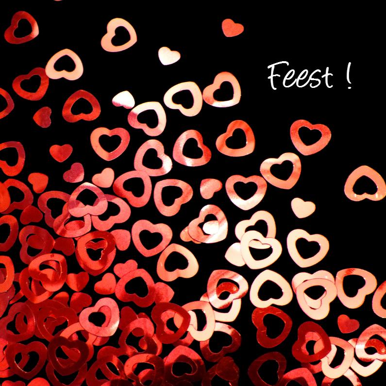 Uitnodigingen - hartjes confetti - liefde