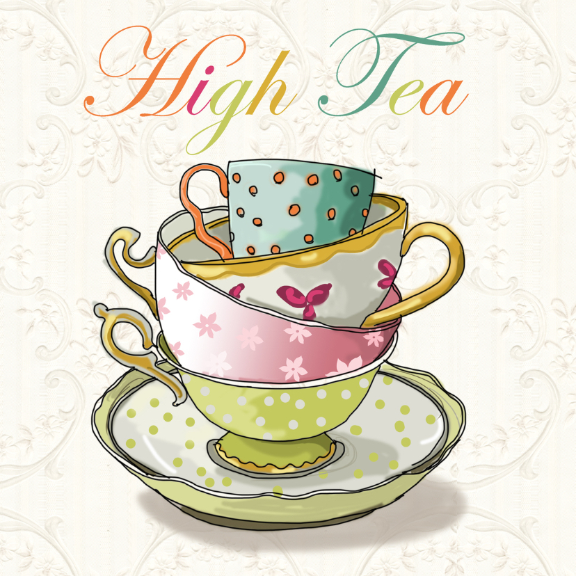 Uitnodigingen - High tea illustratiekaart