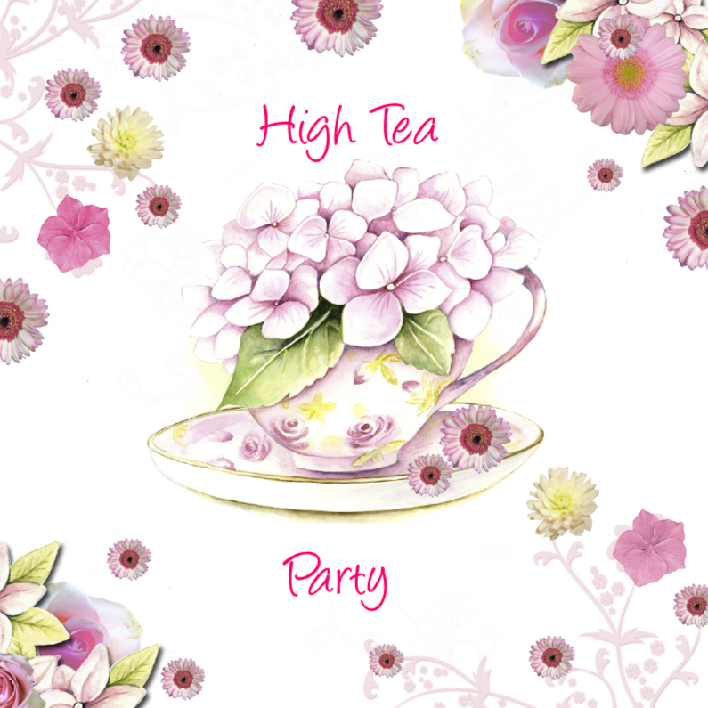 Uitnodigingen - High Tea party kopje