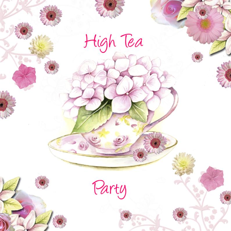 Uitnodigingen - High Tea party kopje