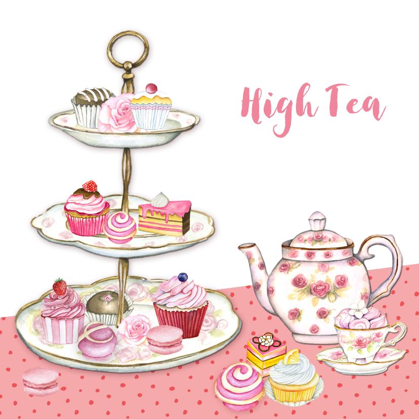 High Tea Taartenstandaard Uitnodigingen Kaartje2go