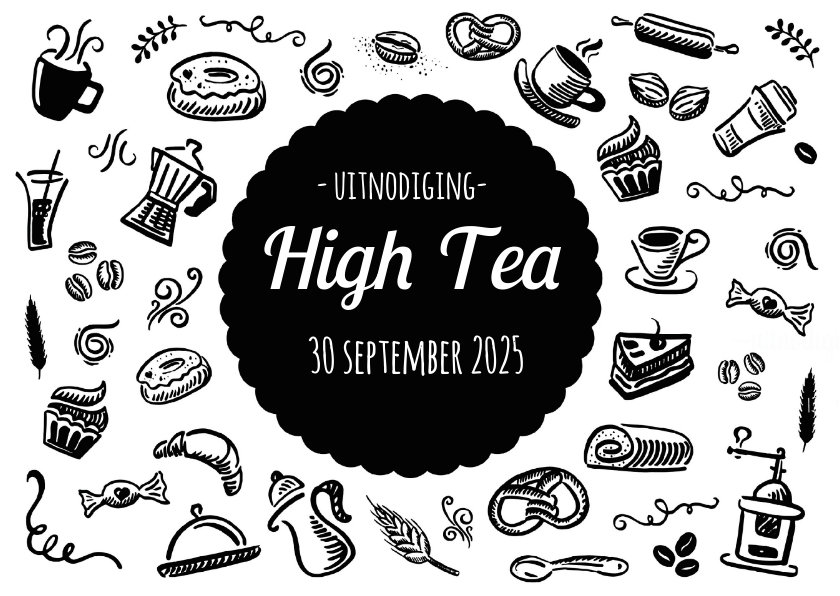 Hedendaags High Tea Uitnodiging Zwart Wit - Uitnodigingen | Kaartje2go PP-64