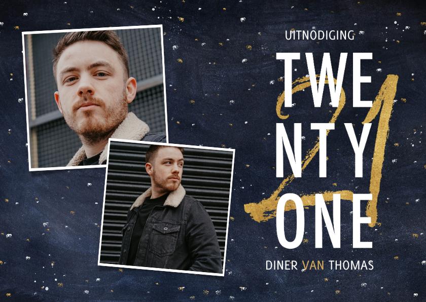 Uitnodigingen - Hippe uitnodiging 21-diner ruimte achtergrond en typografie