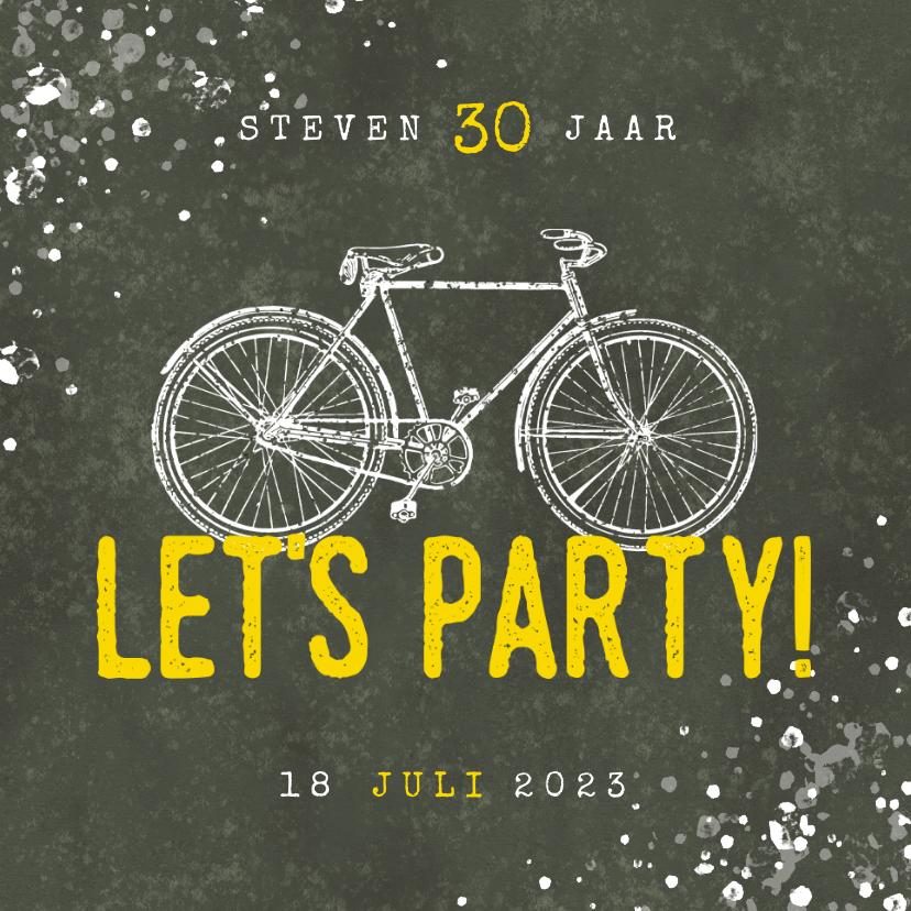 Uitnodigingen - Hippe uitnodiging 30 jaar met fiets, Let's Party en spetters