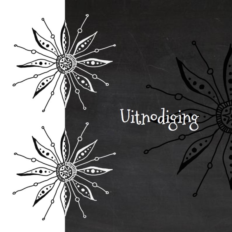 Uitnodigingen - Hippe uitnodiging bloem doodle