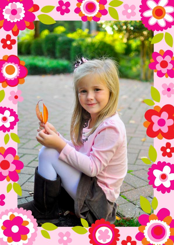 Uitnodigingen - Hippe uitnodiging bloemen fotokader