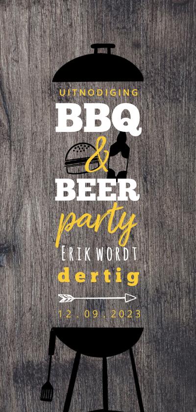 Uitnodigingen - Hippe Uitnodiging Houtlook BBQ & BEER feest