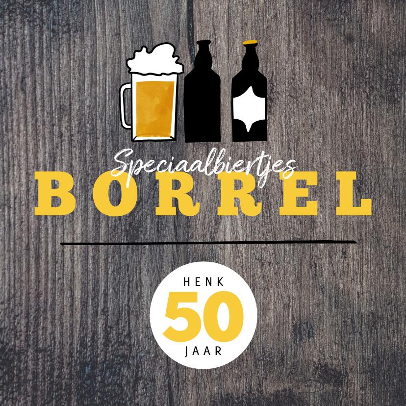 Uitnodigingen - Hippe Uitnodiging Houtlook speciaal biertjes borrel