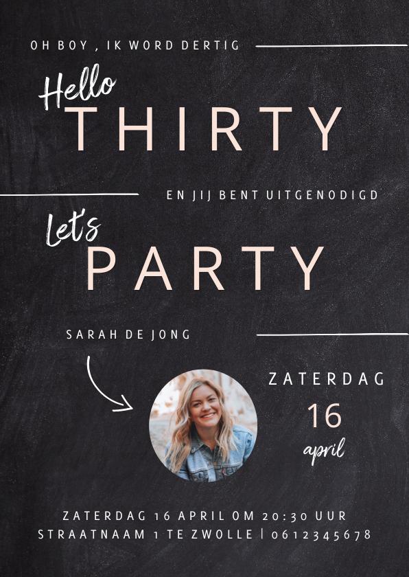 Uitnodigingen - Hippe uitnodiging in krijtbord verjaardag vrouw