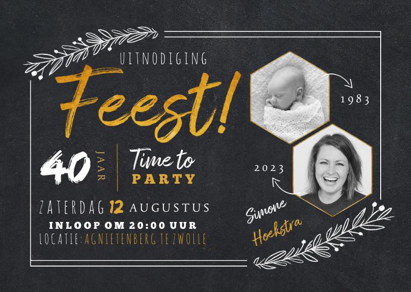 Uitnodigingen - Hippe uitnodiging krijtbord look met foto's en handlettering