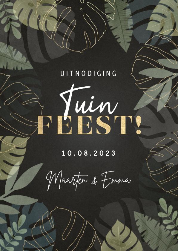 Uitnodigingen - Hippe uitnodiging tuinfeest met junglekader en typografie