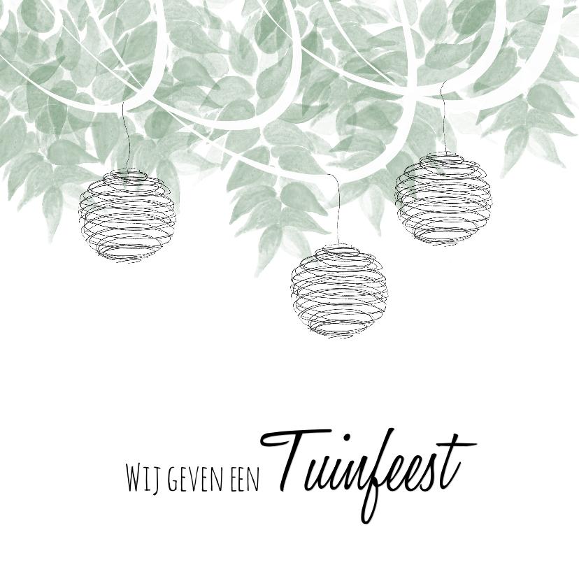 Uitnodigingen - Hippe uitnodiging tuinfeest slingers en lampionnen