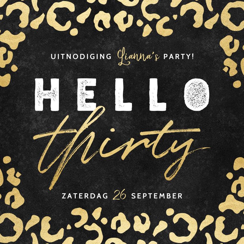 Uitnodigingen - Hippe uitnodiging verjaardag 30 jaar gouden panterprint