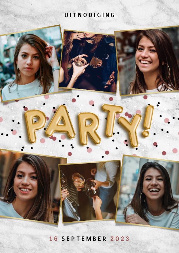 Uitnodigingen - Hippe uitnodiging verjaardagsfeest met ballonnen en confetti