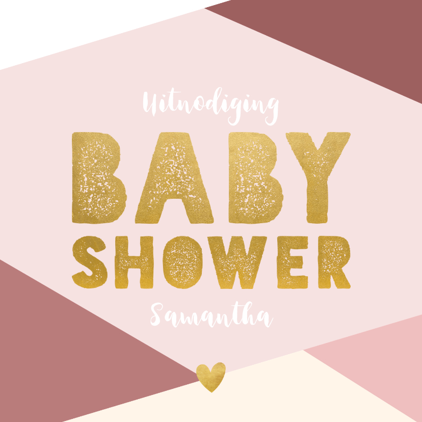 Uitnodigingen - Hippe uitnodiging voor een babyshower met gekleurde vlakken