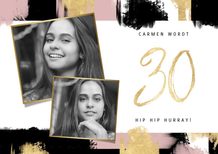 Uitnodigingen - Hippe uitnodiging voor verjaardag met verfstrepen en foto's
