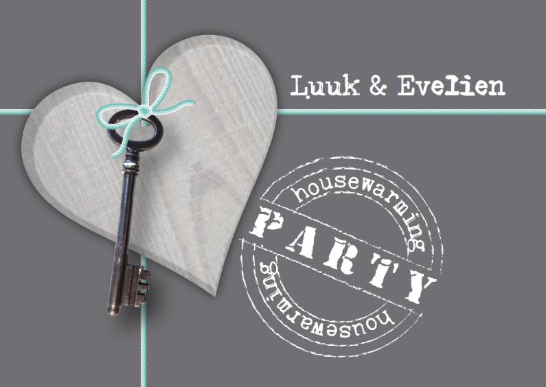 Uitnodigingen - Housewarming Party Hart en Sleutel