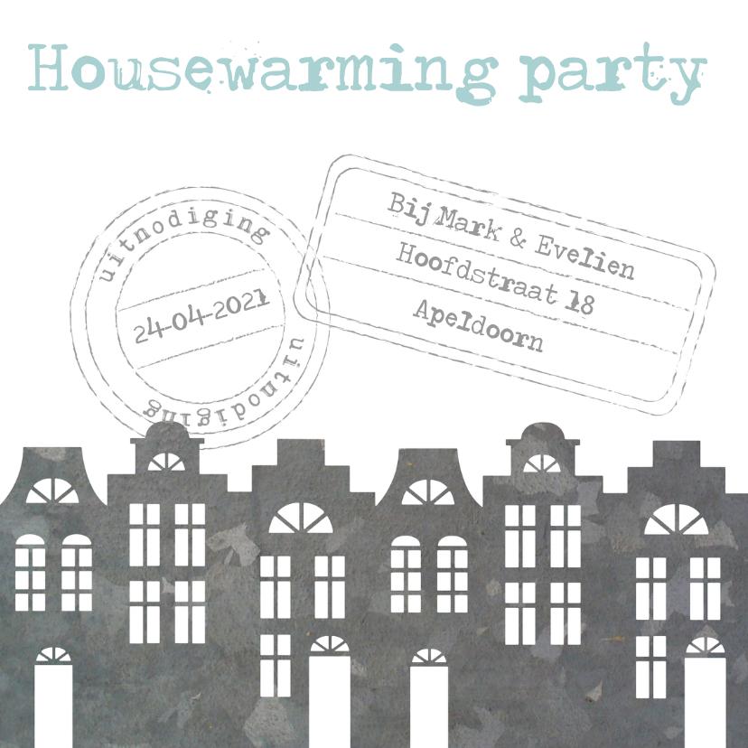Uitnodigingen - Housewarming party uitnodiging huisjes stempels