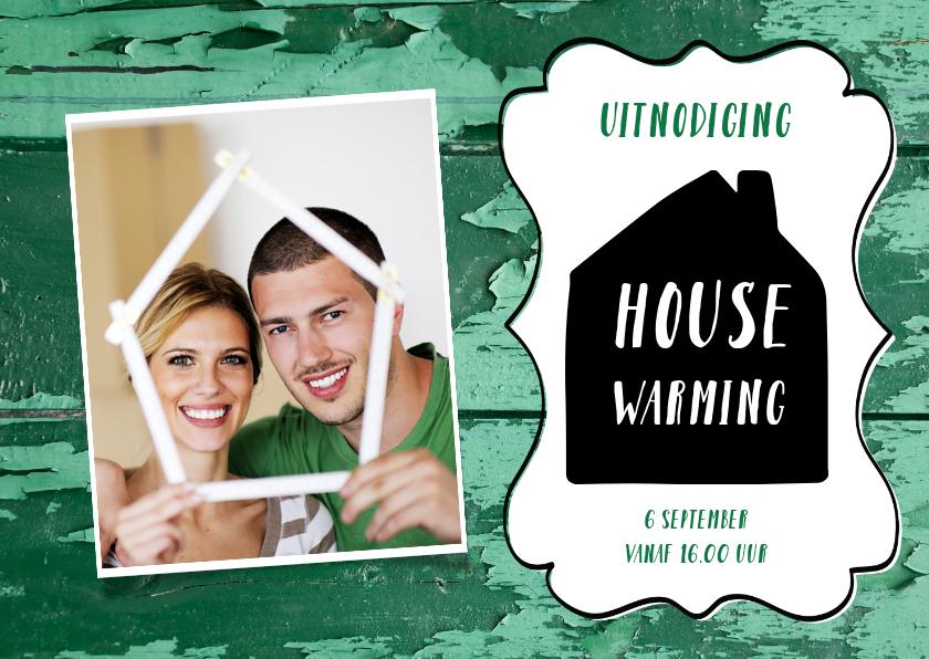 Uitnodigingen - Housewarming sloophout met afgebladderde verf