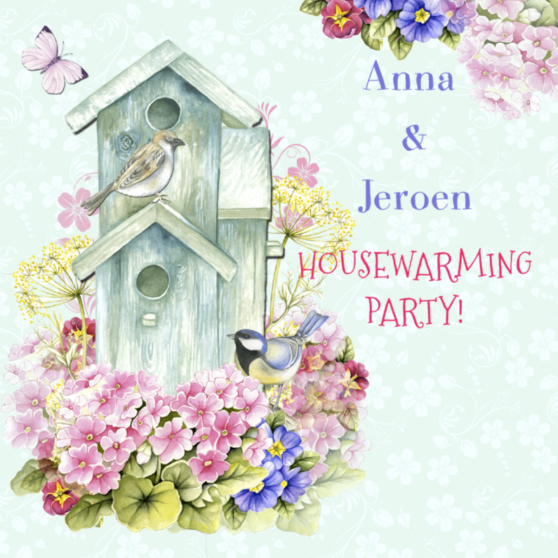 Uitnodigingen - housewarming vogels