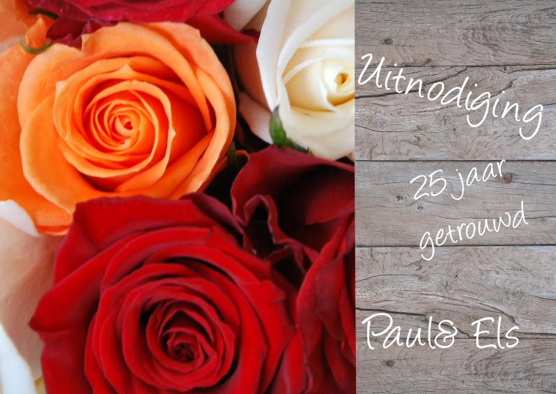 Uitnodigingen - Hout en rozen rood oranje wit