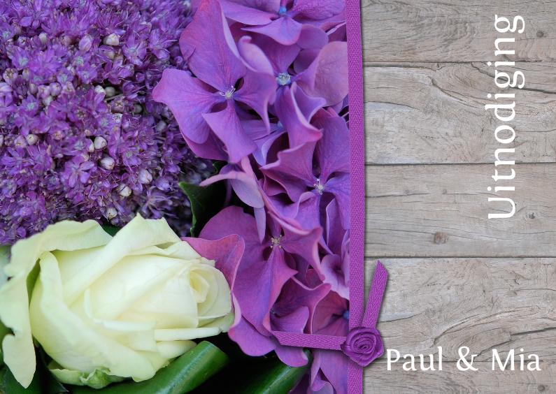 Uitnodigingen - Hout paars en wit