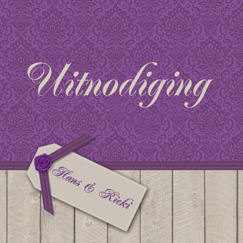Uitnodigingen - Hout paarse print uitnodiging