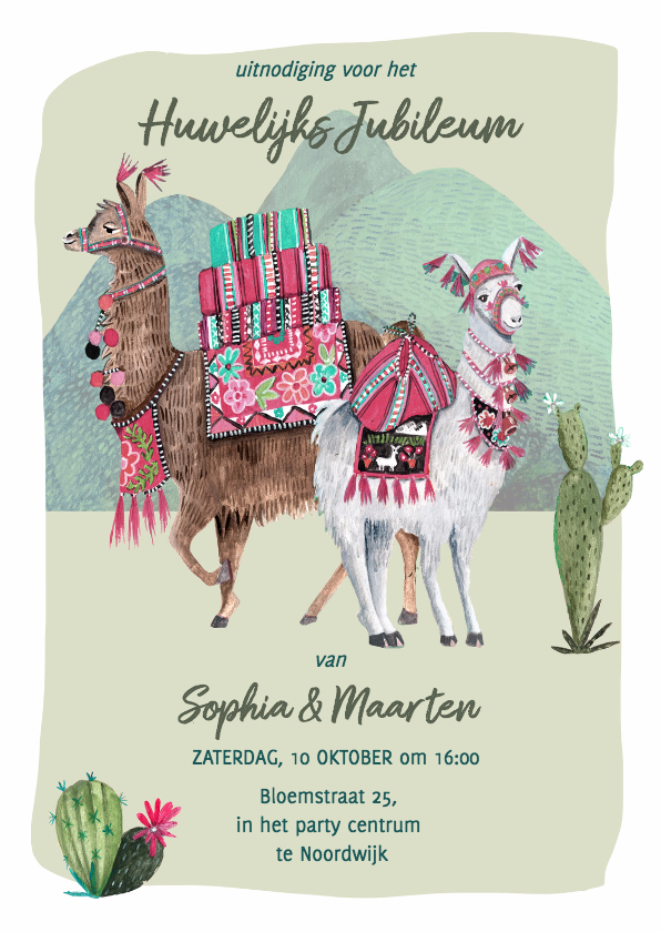 Uitnodigingen - Huwelijks Jubileum Lama