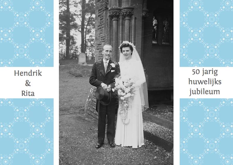 Uitnodigingen - Huwelijks jubileumkaart blauw