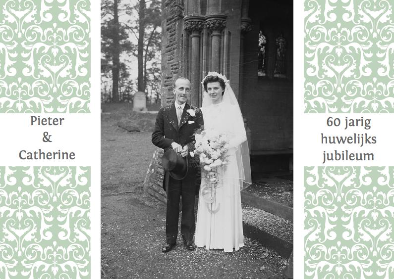 Uitnodigingen - Huwelijks jubileumkaart groen