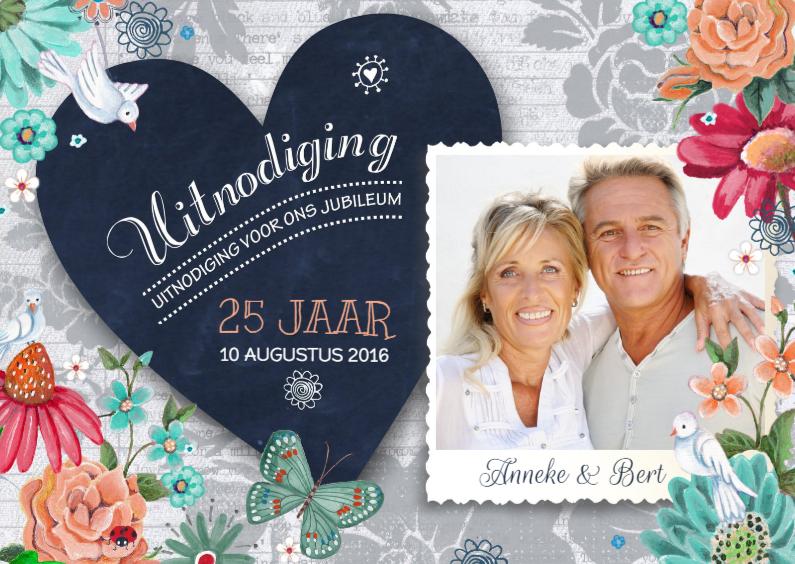 Uitnodigingen - Huwelijksjubileum Bloemen Hart