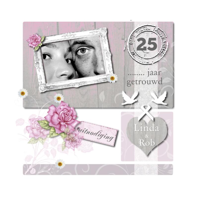 Uitnodigingen - huwelijksjubileum hout roos