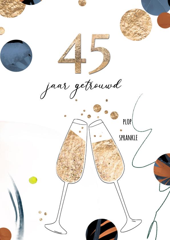 Uitnodigingen - Jubileum huwelijk 45 - confetti