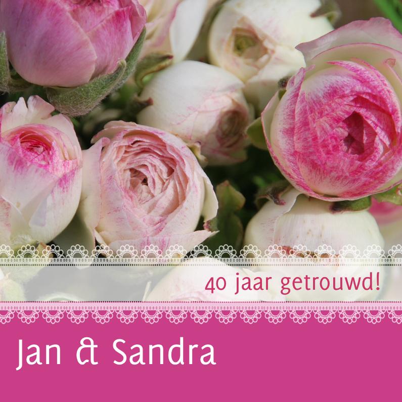 Uitnodigingen - Jubileumkaart bloemen met kant