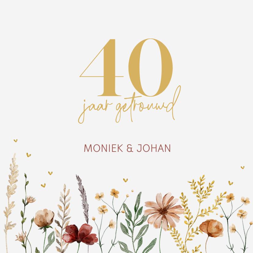 Uitnodigingen - Jubileumkaart kleurrijke bloemen
