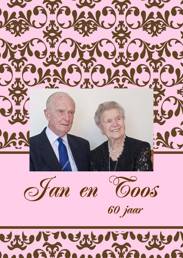 Uitnodigingen - Jubileumkaart met foto roze-bruin