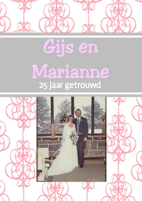 Uitnodigingen - Jubileumkaart met foto roze-grijs
