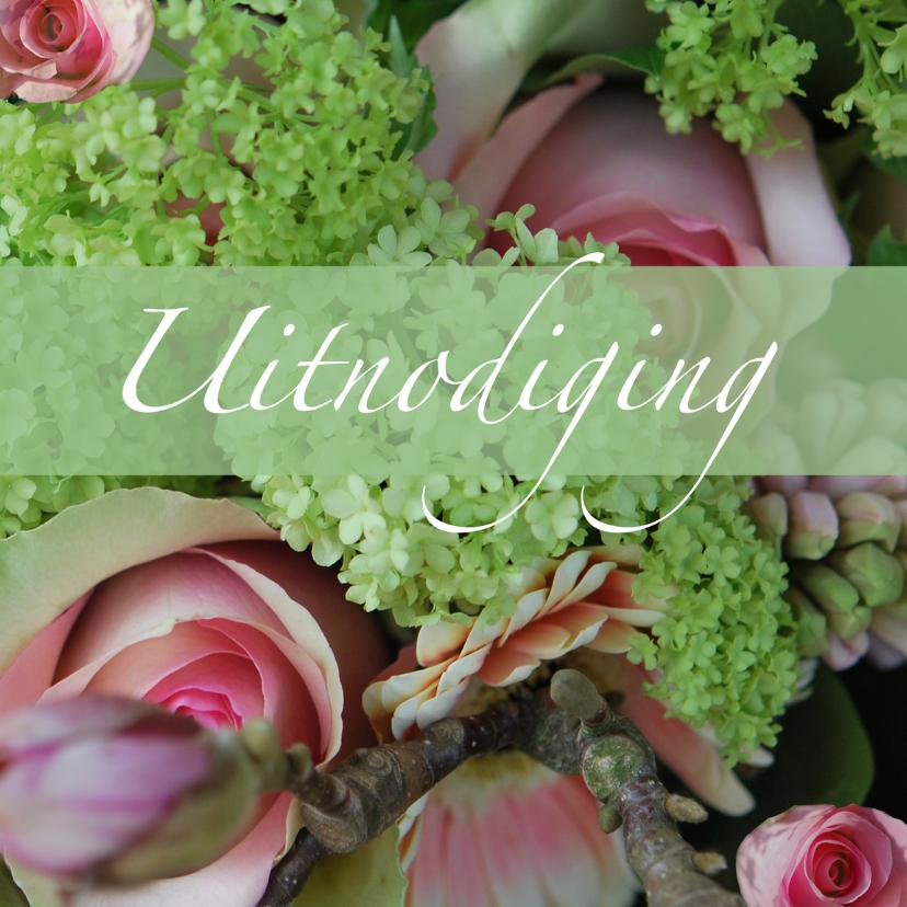 Uitnodigingen - Jubileumkaart met rozen uitnodiging