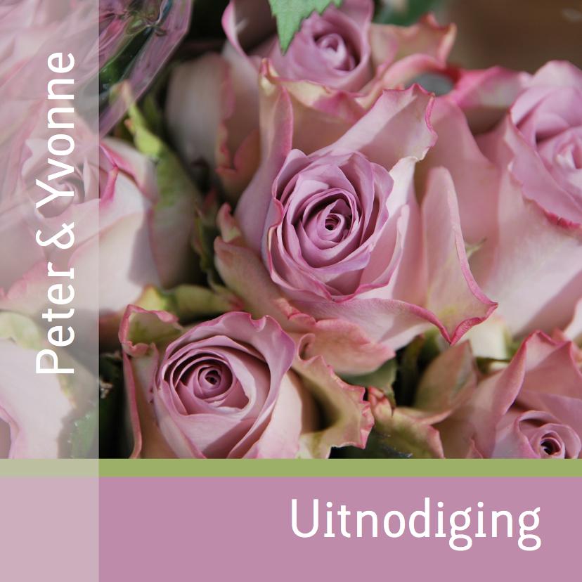 Uitnodigingen - Jubileumkaart rozen groen oud roze