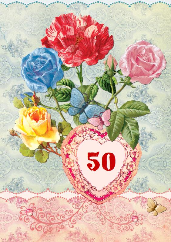 Uitnodigingen - Jubileumkaart scrapbook 50