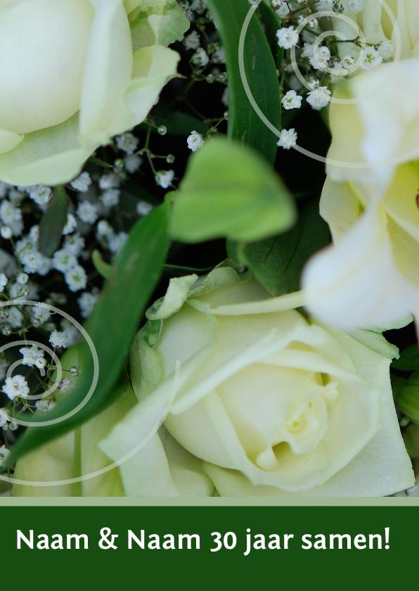 Uitnodigingen - Jubileumkaart wit groen