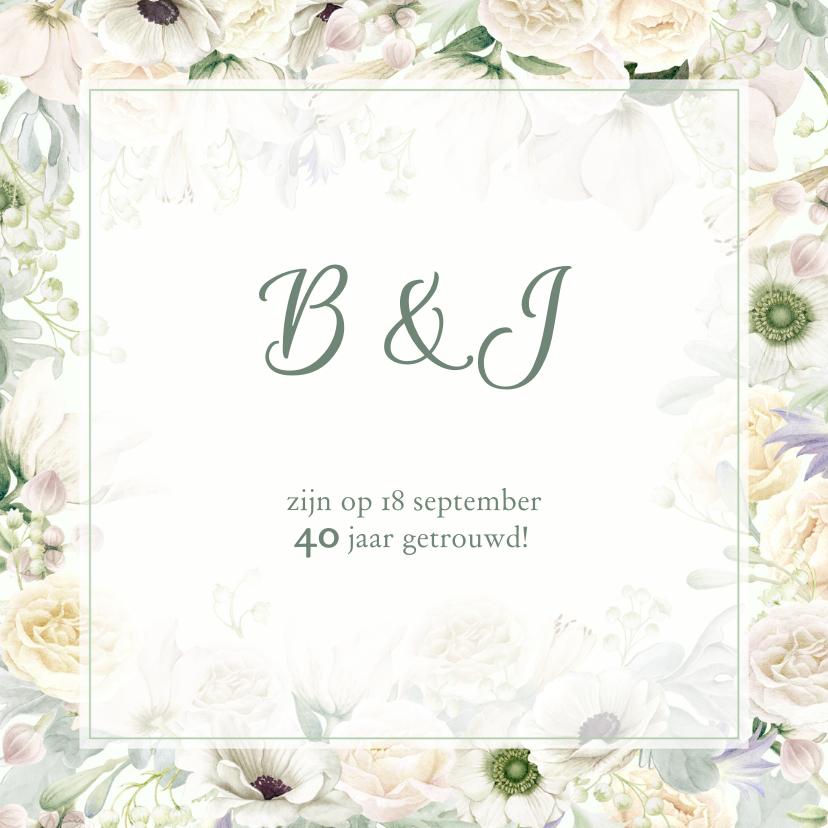 Uitnodigingen - Jubileumkaart witte rozen en anemonen