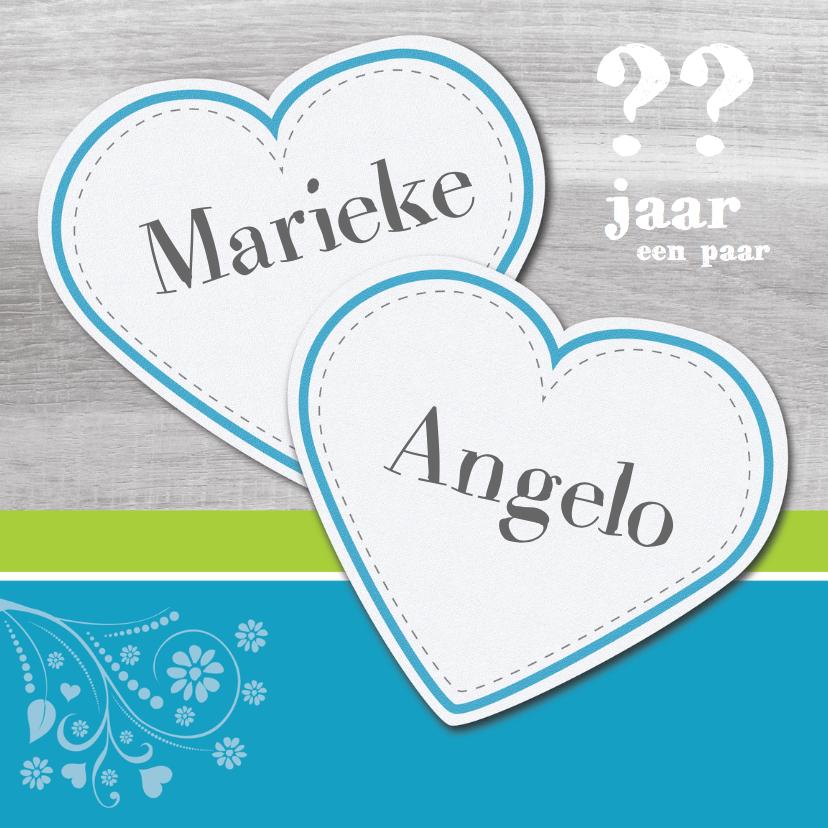 Uitnodigingen - jublileum kaart groen en blauw 2 harten
