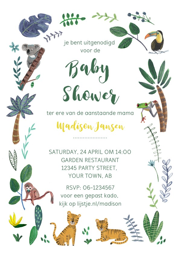 Uitnodigingen - Jungle Baby Shower uitnodiging