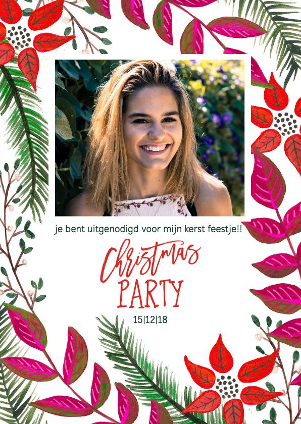 Uitnodigingen - Kerstfeest dennen takjes en bloemen