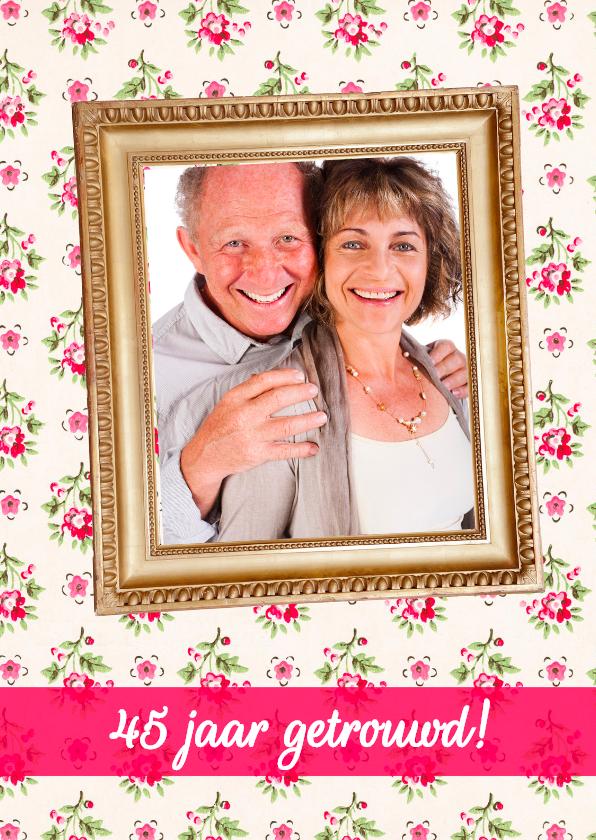 Uitnodigingen - Klassieke Lijst Bloemen Huwelijk